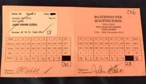 John Hahn 58 Scorecard