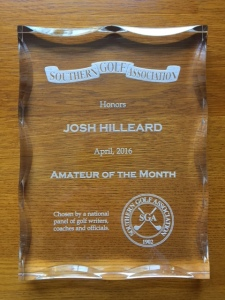 Josh Hilleard April 2016 SGA Amateur of the Month Award