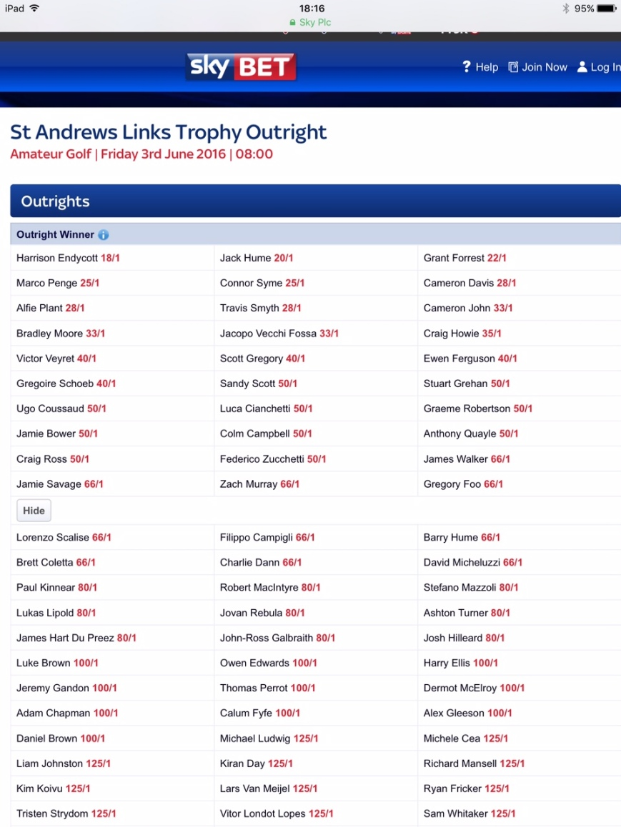 St Andrews Links 2016 SkyBET 1
